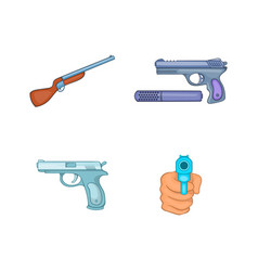 gun icon set cartoon style vector image