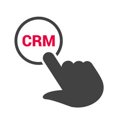 hand presses the button with text crm vector image