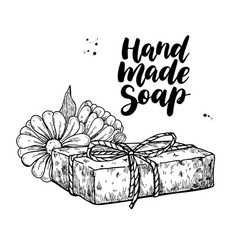 Handmade natural soap hand drawn vector