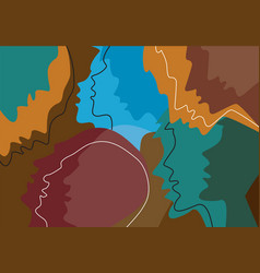 human heads colored background emotionpsychology vector image