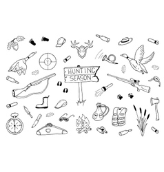 Hunting season collection in doodle style vector