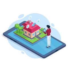 isometric smart house security workspace vector image