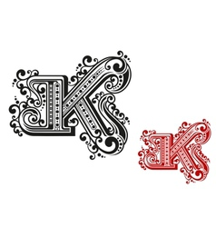Letter K in retro vintage style vector