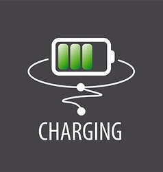 logo with green battery charging vector image vector image