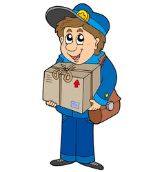 mailman delivering box vector image