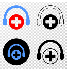 Medical assistance headphones eps icon with vector