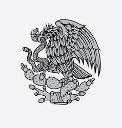 Mexican eagle and snake tattoo vector