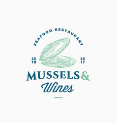 mussels and wines seafood restaurant abstract vector image