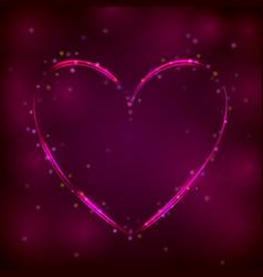neon pink heart on dark background vector image