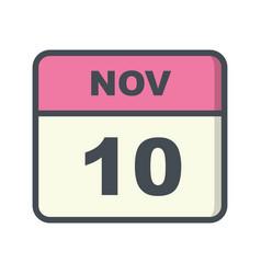 November 10th date on a single day calendar vector