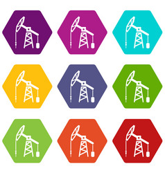 oil rig icons set 9 vector image