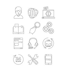 Online support icons call center admin computer vector