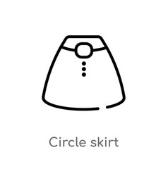 outline circle skirt icon isolated black simple vector image