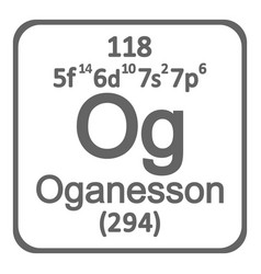 periodic table element oganesson icon vector image