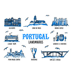 portugal landmarks set handdrawn sketch style vector image