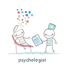psychologist with a folder and the patients head vector image