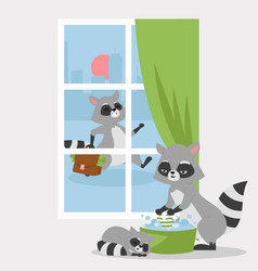 raccon family poster banner vector image