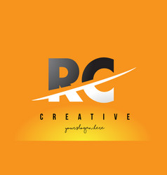 Rc r c letter modern logo design with yellow vector
