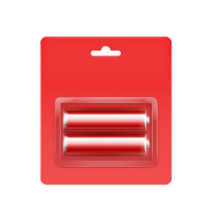 Red alkaline aa batteries in red blister vector