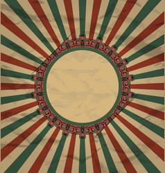 Retro vintage grunge label on sun rays background vector