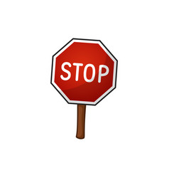 road sign stop cartoon vector image