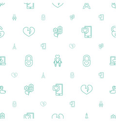 Romantic icons pattern seamless white background vector