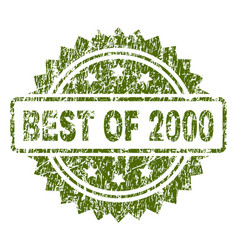 Scratched textured best of 2000 stamp seal vector