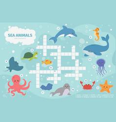 sea animals crossword kids crossword puzzle game vector image