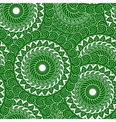 seamless mandala green white vector image