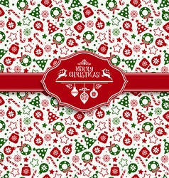 Seamless pattern of christmas texture icons vector image