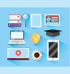 Set elearning education and digital profession vector