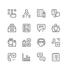 set line icons survey vector image