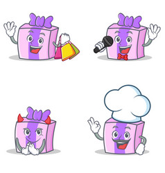 Set of gift character with shopping karaoke devil vector