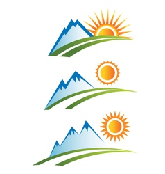 Set of Mountain with Sun vector