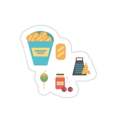 Set of paper stickers on a white background snacks vector