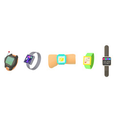 smartwatch icon set cartoon style vector image