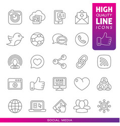 social media high quality line icons vector image