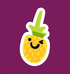 sticker with pineapple vector image
