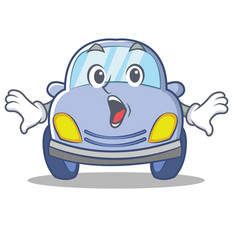 Surprised cute car character cartoon vector