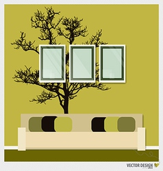 Three empty frames on a wall and Decorative Wall vector image