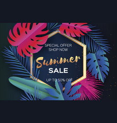 Trendy summer sale template banner paper cut art vector