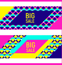 two abstract geometric banner backgrounds memphis vector image
