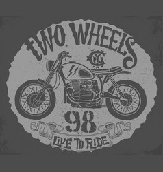 vintage motorcycle hand drawn t-shirt design vector image