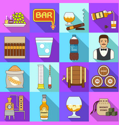 whisky icons set flat style vector image