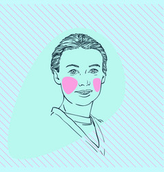 Young woman portrait with combed hair and v shape vector