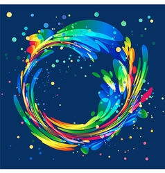 Abstract colorful circle frame on blue background vector image vector image