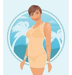 pretty summer girl vector image vector image