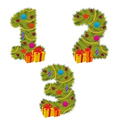 set of numbers Christmas tree from 1 to 3 vector image vector image