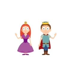 Cartoon characters of princess and prince isolated vector