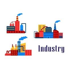 Flat factory industrial buildings vector image